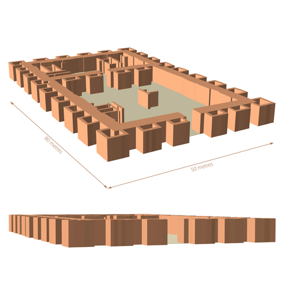 Reconstruction of the Old Babylonian public building at Tell Khaiber 1